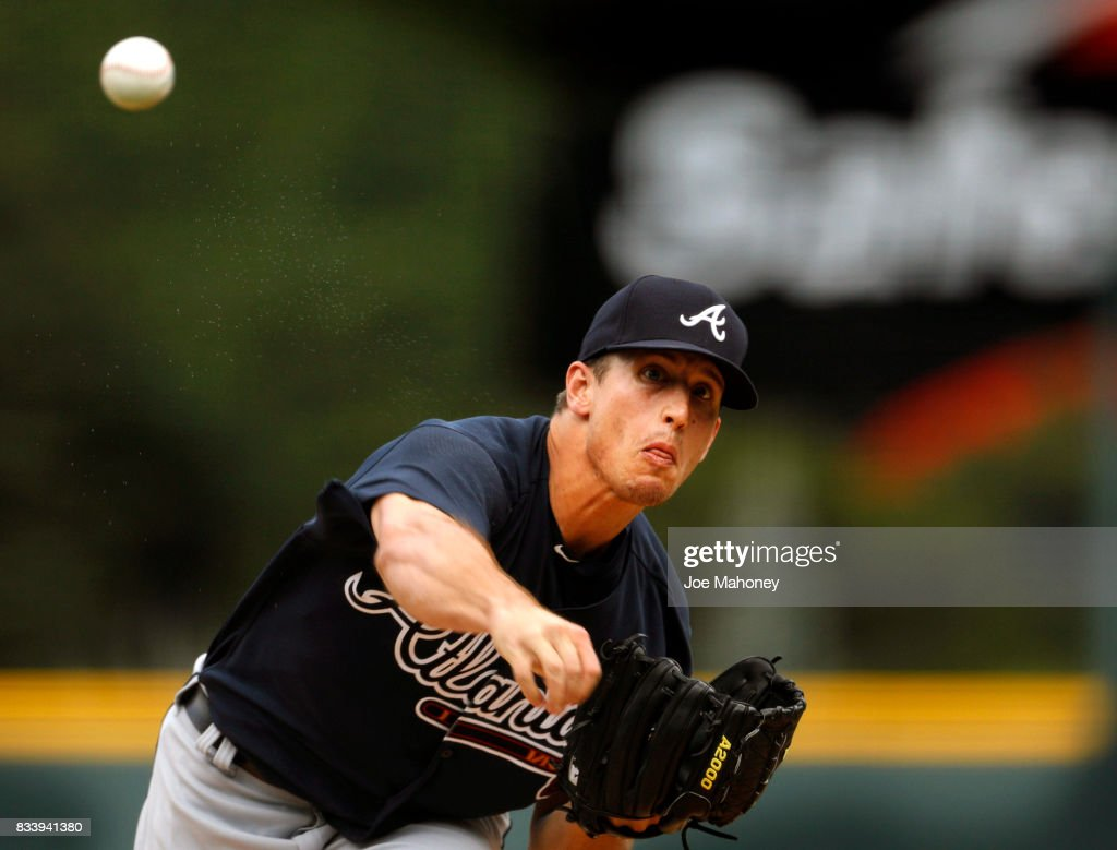 Lucas Sims #50 of the Atlanta Braves pitches against the Colorado Rockies in the first inning at Coors Field on August 17, 2017 in Denver, Colorado.