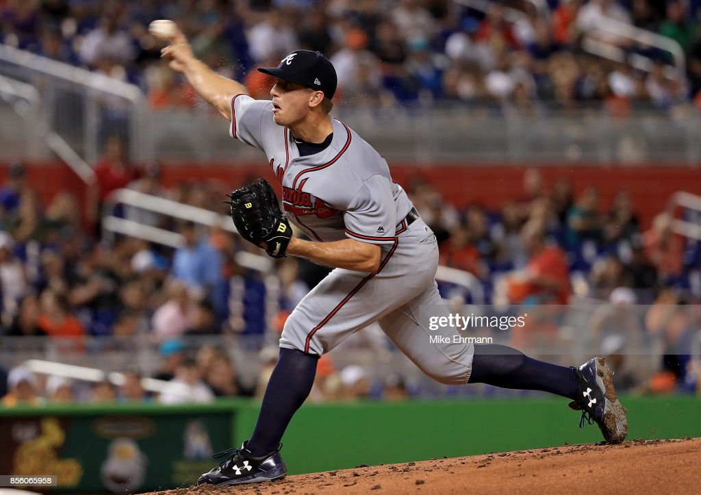 Lucas Sims #50 of the Atlanta Braves pitches during a game against the Miami Marlins at Marlins Park on September 30, 2017 in Miami, Florida.