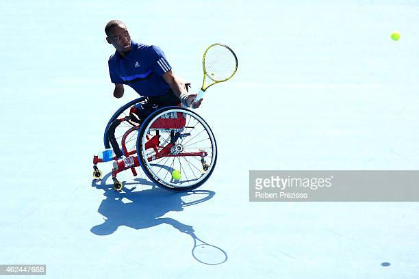 Lucas Sithole of South Africa in action in their match with Dylan Alcott of Australia against David Wagner of the United States and Andrew Lapthorne...