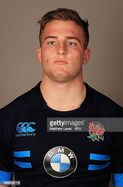 Lucas Slowik of England U18's poses for a portrait during an England Rugby Union U18's Headshot session at Loughborough University on November 1 2013...