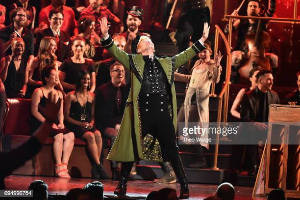 Lucas Steele performs onstage with the cast of 'Natasha Pierre and The Great Comet of 1812' onstage during the 2017 Tony Awards at Radio City Music...