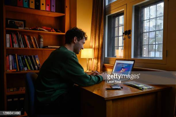 Lucas Strange continues to study for his degree in physics via online learning sessions from his room in Gonville and Caius College at the University...