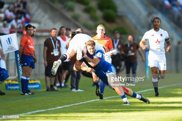 Lucas Tauzin of France and Tom Parton of England during the Final World Championship U20 match between England and France on June 17 2018 in Beziers...
