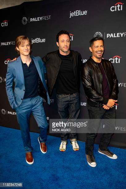 Lucas Till Alex O'Loughlin and Jay Hernandez arrives for the Paley Center for Media's 2019 PaleyFest 'Hawaii Five0' 'MacGyver' And 'Magnum PI' March...