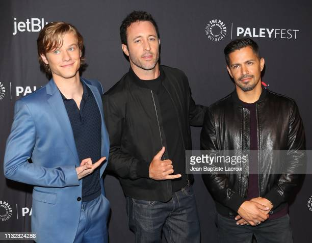 Lucas Till Alex O'Loughlin and Jay Hernandez attend the Paley Center For Media's 2019 PaleyFest LA Hawaii Five0 MacGyver And Magnum PI held at the...