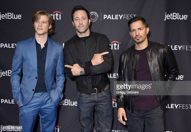 Lucas Till Alex O'Loughlin and Jay Hernandez attend The Paley Center For Media's 2019 PaleyFest LA Hawaii Five0 MacGyver And Magnum PI at Dolby...