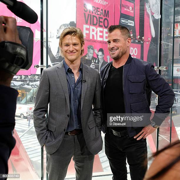 Lucas Till and George Eads visit Extra at their New York studios at HM in Times Square on September 8 2016 in New York City