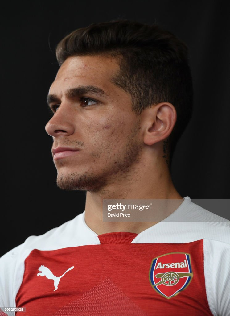 Lucas Torreira Arsenal's latest signing at London Colney on July 10, 2018 in St Albans, England.