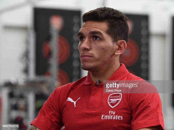 Lucas Torreira Arsenal's latest signing at London Colney on July 10 2018 in St Albans England
