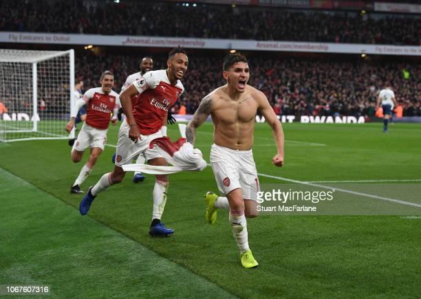 Lucas Torreira celebrates scoring the 4th Arsenal goal during the Premier League match between Arsenal FC and Tottenham Hotspur at Emirates Stadium...