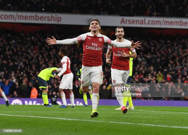 Lucas Torreira celebrates scoring the Arsenal goal during the Premier League match between Arsenal FC and Huddersfield Town at Emirates Stadium on...