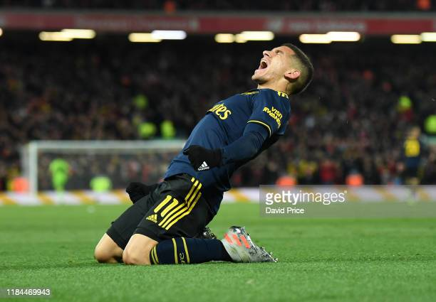 Lucas Torreira celebrtaes scoring Arsenal's 1st goal during the Carabao Cup Round of 16 match between Liverpool and Arsenal at Anfield on October 30...
