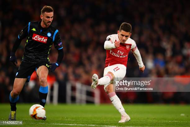Lucas Torreira of Arsena scores his side's second goal during the UEFA Europa League Quarter Final First Leg match between Arsenal and S.S.C. Napoli...