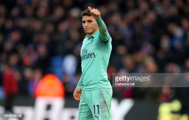 Lucas Torreira of Arsenal acknowledges the travelling support following the Premier League match between Crystal Palace and Arsenal FC at Selhurst...