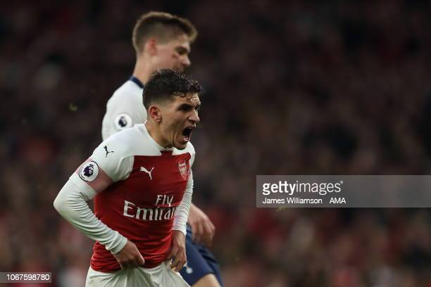 Lucas Torreira of Arsenal celebrates after scoring a goal to make it 42 during the Premier League match between Arsenal FC and Tottenham Hotspur at...