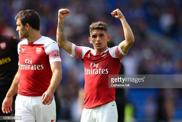 Lucas Torreira of Arsenal celebrates after the Premier League match between Cardiff City and Arsenal FC at Cardiff City Stadium on September 2 2018...