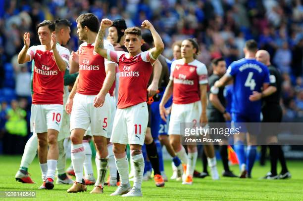 Lucas Torreira of Arsenal celebrates at fulltime during the Premier League match between Cardiff City and Arsenal at Cardiff City Stadium on...