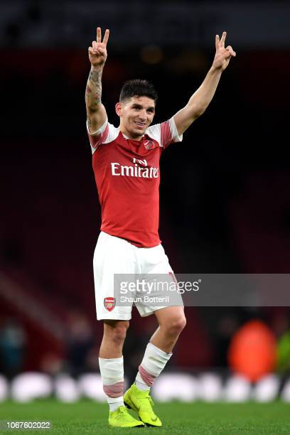 Lucas Torreira of Arsenal celebrates his team's victory after the Premier League match between Arsenal FC and Tottenham Hotspur at Emirates Stadium...