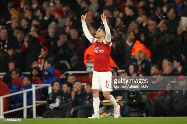 Lucas Torreira of Arsenal celebrates scoring a goal to make it 2-0 during the UEFA Europa League Quarter Final First Leg match between Arsenal and...