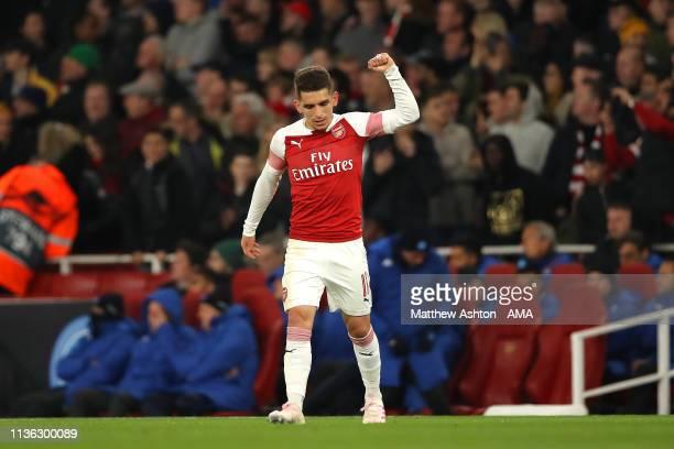 Lucas Torreira of Arsenal celebrates scoring a goal to make it 2-0 during the UEFA Europa League Quarter Final First Leg match between Arsenal and...