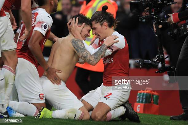 Lucas Torreira of Arsenal celebrates scoring their 4th goal with Hector Bellerin during the Premier League match between Arsenal FC and Tottenham...