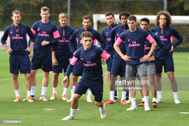 Lucas Torreira of Arsenal during a training session at London Colney on September 19 2018 in St Albans England