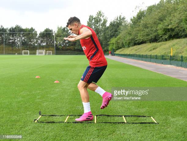 Lucas Torreira of Arsenal during a training session at London Colney on August 01 2019 in St Albans England