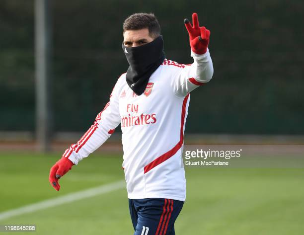 Lucas Torreira of Arsenal during a training session at London Colney on January 10 2020 in St Albans England