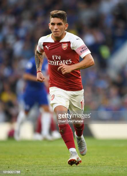 Lucas Torreira of Arsenal during the Premier League match between Chelsea FC and Arsenal FC at Stamford Bridge on August 18 2018 in London United...