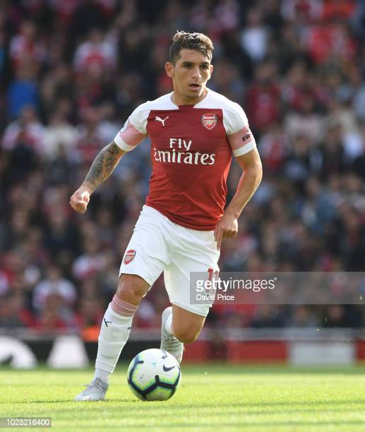 Lucas Torreira of Arsenal during the Premier League match between Arsenal FC and West Ham United at Emirates Stadium on August 25 2018 in London...