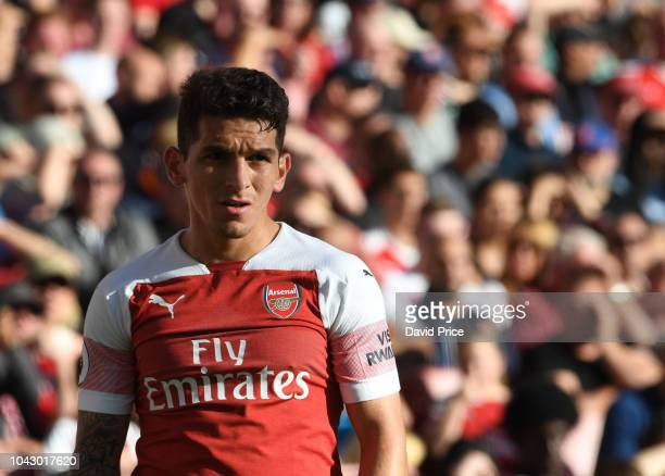 Lucas Torreira of Arsenal during the Premier League match between Arsenal FC and Watford FC at Emirates Stadium on September 29 2018 in London United...