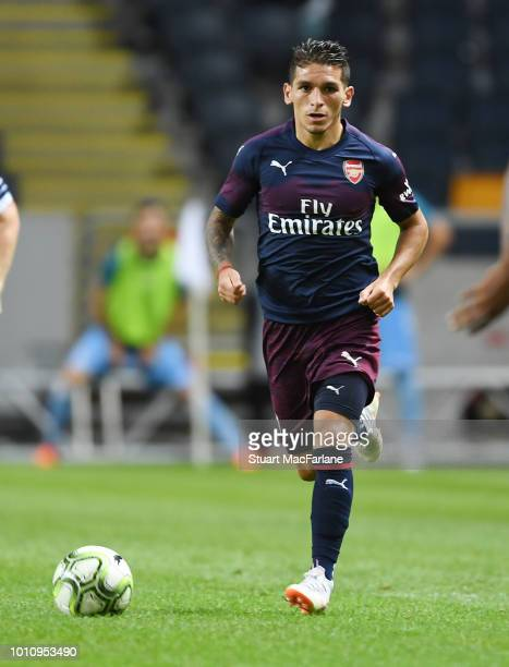 Lucas Torreira of Arsenal during the Preseason friendly between Arsenal and SS Lazio on August 4 2018 in Stockholm Sweden