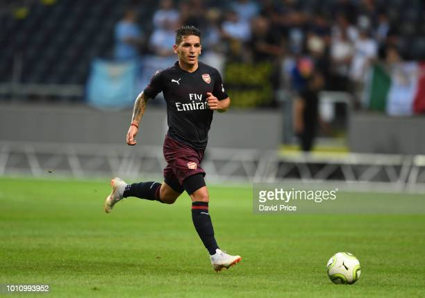 Lucas Torreira of Arsenal during the Preseason friendly between Arsenal and SS Lazzio on August 4 2018 in Stockholm Sweden