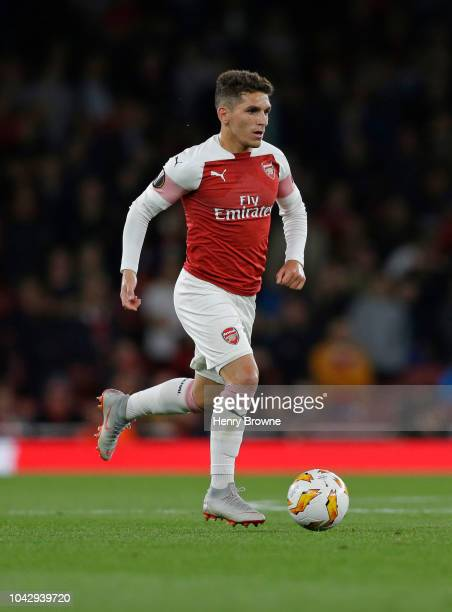 Lucas Torreira of Arsenal during the UEFA Europa League Group E match between Arsenal and Vorskla Poltava at Emirates Stadium on September 20 2018 in...