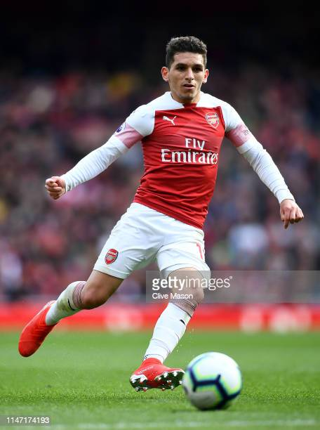 Lucas Torreira of Arsenal in action during the Premier League match between Arsenal FC and Brighton & Hove Albion at Emirates Stadium on May 05, 2019...