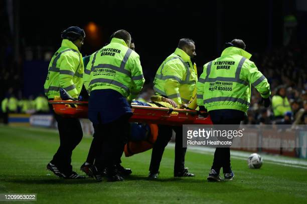 Lucas Torreira of Arsenal is stretchered off following an injury during the FA Cup Fifth Round match between Portsmouth FC and Arsenal FC at Fratton...