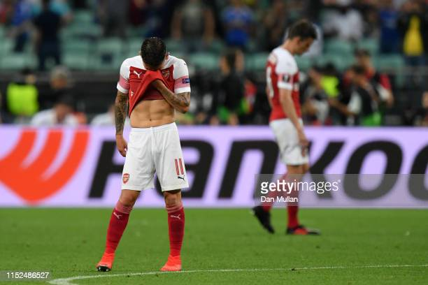 Lucas Torreira of Arsenal looks dejected after Arsenal third goal during the UEFA Europa League Final between Chelsea and Arsenal at Baku Olimpiya...