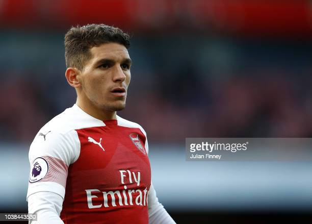 Lucas Torreira of Arsenal looks on during the Premier League match between Arsenal FC and Everton FC at Emirates Stadium on September 23 2018 in...