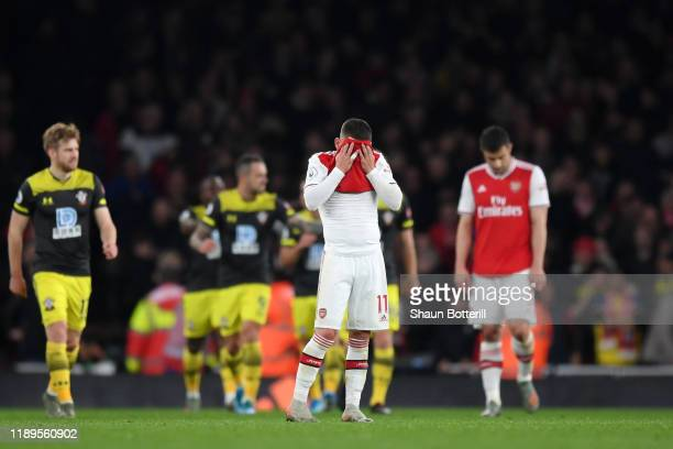 Lucas Torreira of Arsenal reacts after Southampton's second goal during the Premier League match between Arsenal FC and Southampton FC at Emirates...