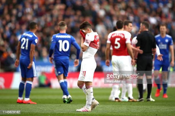 Lucas Torreira of Arsenal reacts during the Premier League match between Leicester City and Arsenal FC at The King Power Stadium on April 28 2019 in...