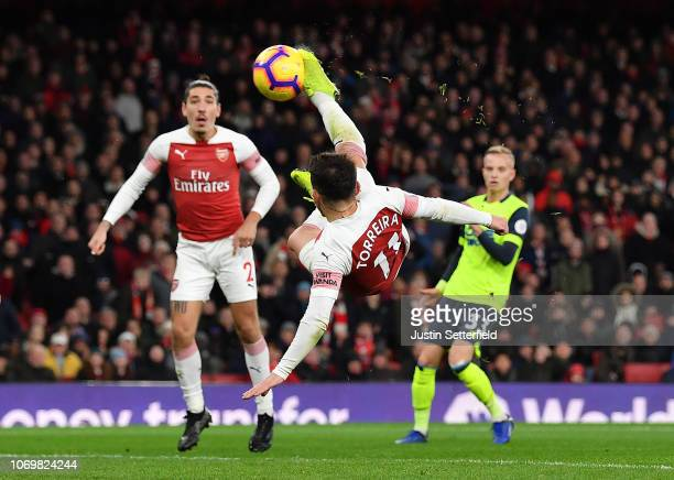 Lucas Torreira Of Arsenal Scores His Teams First Goal During The Premier League Match Between Arsenal
