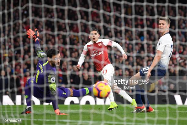 Lucas Torreira of Arsenal scores his team's fourth goal past Hugo Lloris of Tottenham Hotspur during the Premier League match between Arsenal FC and...