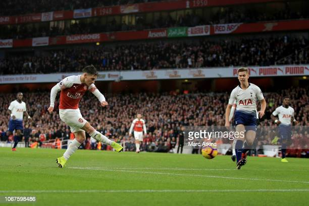 Lucas Torreira of Arsenal scores their 4th goal during the Premier League match between Arsenal FC and Tottenham Hotspur at Emirates Stadium on...