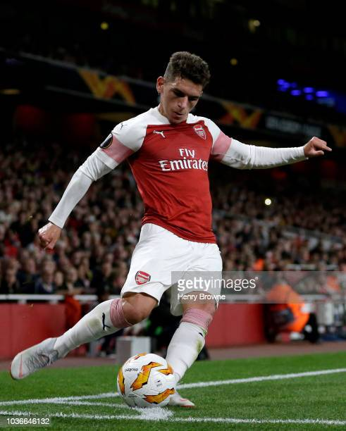 Lucas Torreira of Arsenal takes a corner during the UEFA Europa League Group E match between Arsenal and Vorskla Poltava at Emirates Stadium on...