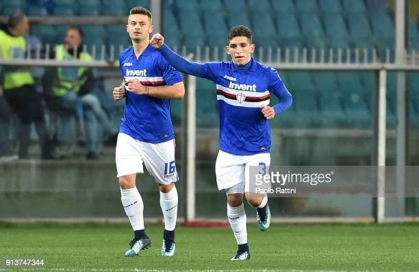 Lucas Torreira of Sampdoria celebrate after score 10 during the serie A match between UC Sampdoria and Torino FC at Stadio Luigi Ferraris on February...