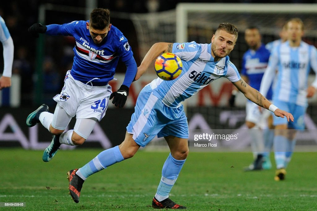 Lucas Torreira of UC Sampdoria compete for the ball with Ciro Immobile of SS Lazio during the Serie A match between UC Sampdoria and SS Lazio at Stadio Luigi Ferraris on December 3, 2017 in Genoa, Italy.