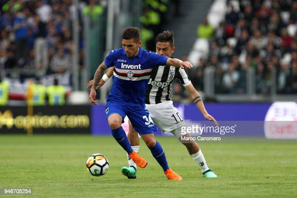 Lucas Torreira of UC Sampdoria in action during the Serie A football match between Juventus Fc and Uc Sampdoria Juventus Fc wins 30 over Uc Sampdoria
