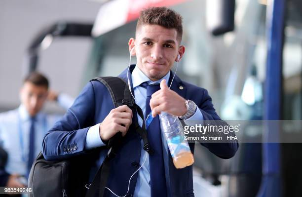 Lucas Torreira of Uruguay arrives at the stadium prior to the 2018 FIFA World Cup Russia group A match between Uruguay and Russia at Samara Arena on...