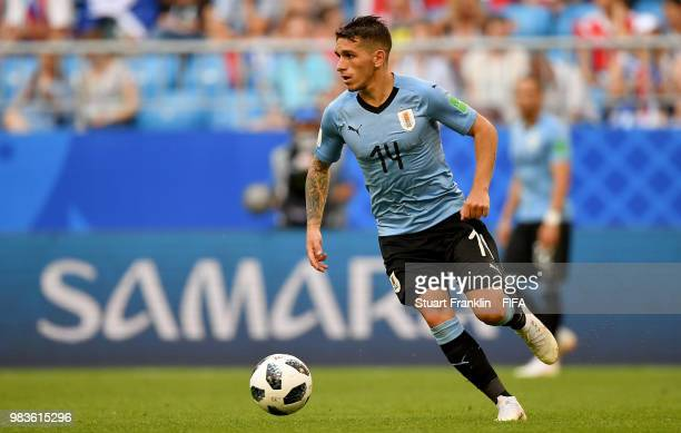 Lucas Torreira of Uruguay in action during the 2018 FIFA World Cup Russia group A match between Uruguay and Russia at Samara Arena on June 25 2018 in...
