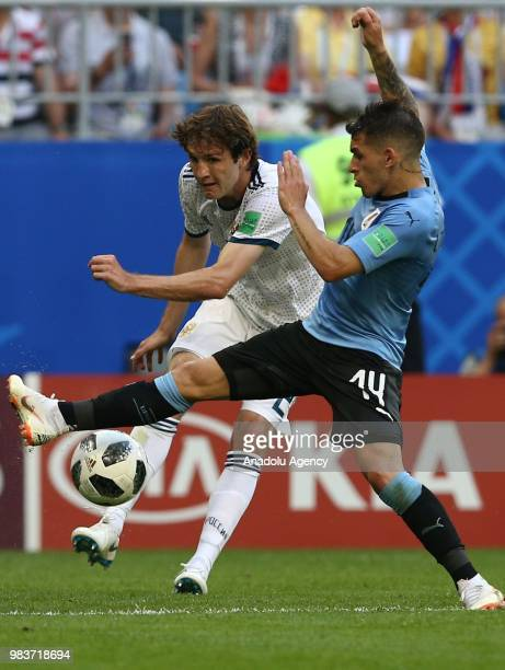 Lucas Torreira of Uruguay in action during the 2018 FIFA World Cup Russia Group A match between Uruguay and Russia at the Samara Arena in Samara...